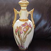 Large Art Nouveau/Renaissance Revival Irises Vase Cherub Handles