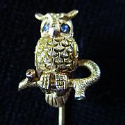 14K Full Figure Owl Hat/Lapel Pin