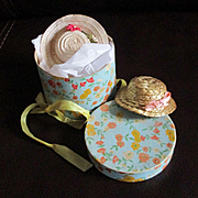 1950's Flowered Doll Hat Box 2 Hats Ginny and Straw