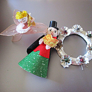3 Vintage Christmas Ornaments Spun Head and Wreath
