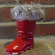1940's Paper Mache Christmas Boot Candy Container Original Tinsel Cuff