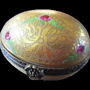 "Limoges Oval Box ""Incrustation"" Rose Buds"