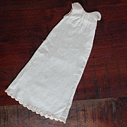 Feather Stitched Long Flannel Nightgown for French Fashion Doll