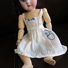 "Darling Vintage Pinafore For Mignonette Hand Stitched ""Eva"" Monogram"