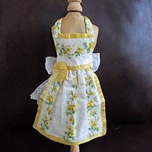 Vintage Linen Silk Apron Pinafore Smaller Doll