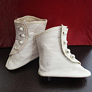 Vintage Replacement Kid Leather Doll Boots Heels For Fashion Doll