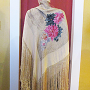 Exquisite Art Deco Lame´ Shawl Gold Thread Chrysanthemums