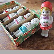 Pristine Art Deco Japanese Miniature Dolls Great Outfits Original Box
