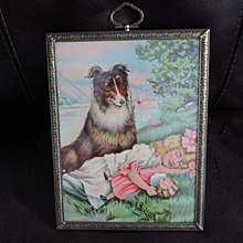 Victorian Chromolithograph Girl With Collie & Doll Lovely Frame