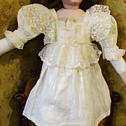 Edwardian Linen Lace Dress For Larger Doll