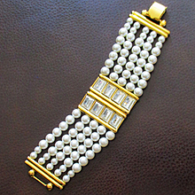 Runway Napier 60's Simulated Pearl Crystal Bracelet