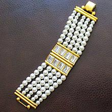 Runway Napier 60's Simulated Pearl Crystal Bracelet