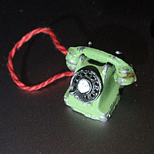 Tiny Miniature Cast Iron Art Deco Telephone England