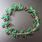 Volmer Bahner Denmark Sterling Tiny Butterflies Enamel Bracelet
