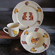 Adorable Art Deco Child's Dish Set Animals For Display