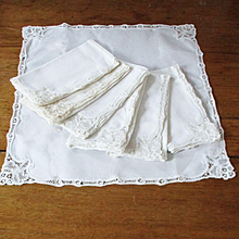 7 Lace Linen Needle Work Napkins