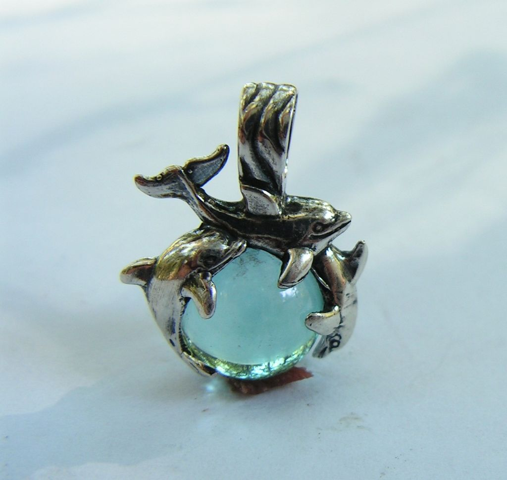 Sterling Silver Dolphins Pendant With Aqua Aura Crystal