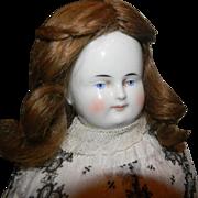 "Wonderful Wigged China Head, 18"" Biedermeier China"