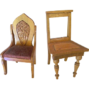 Dollhouse Chairs, Two Wooden