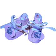 Pink Factory Oilcloth Shoes w/Original Silver Buckles at Toes, Smaller Size.  Cute!