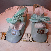 Factory pair of Aqua Blue Doll Shoes, nice!