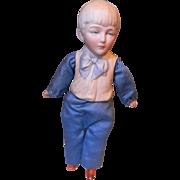 Rare Boy,part bisque &Cloth, Molded Clothes