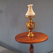 Miniature Doll Wooden Table and Lamp with Glass Shade