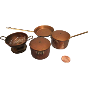 Miniature Doll House Copper Pots and Pan Made in England