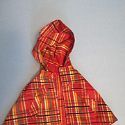 Effanbee Patsy or Shirley Red Plaid Rain cape