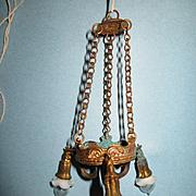 Miniature Antique German Dollhouse Ormolu Chandelier