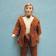 "Antique German All Bisque 3 1/2"" Dollhouse Man"