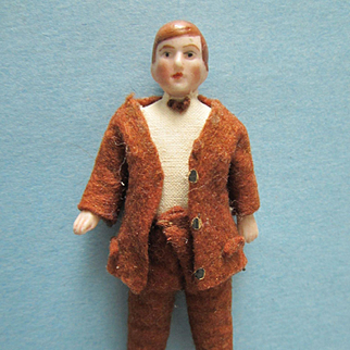 "Antique German All Bisque 3 1/2"" Dollhouse Man"