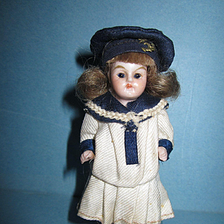 "German 3 1/2"" All Bisque Sailor Girl"