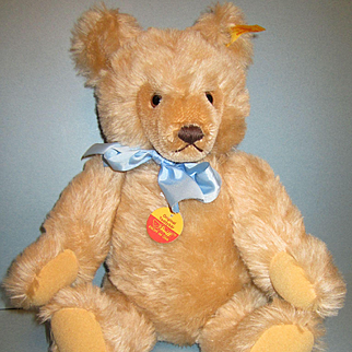 Steiff Original Growler Teddy Bear with Blue Bow #0201/41 Mohair West Germany