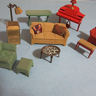 Vintage Miniature Dollhouse Living Room Furniture