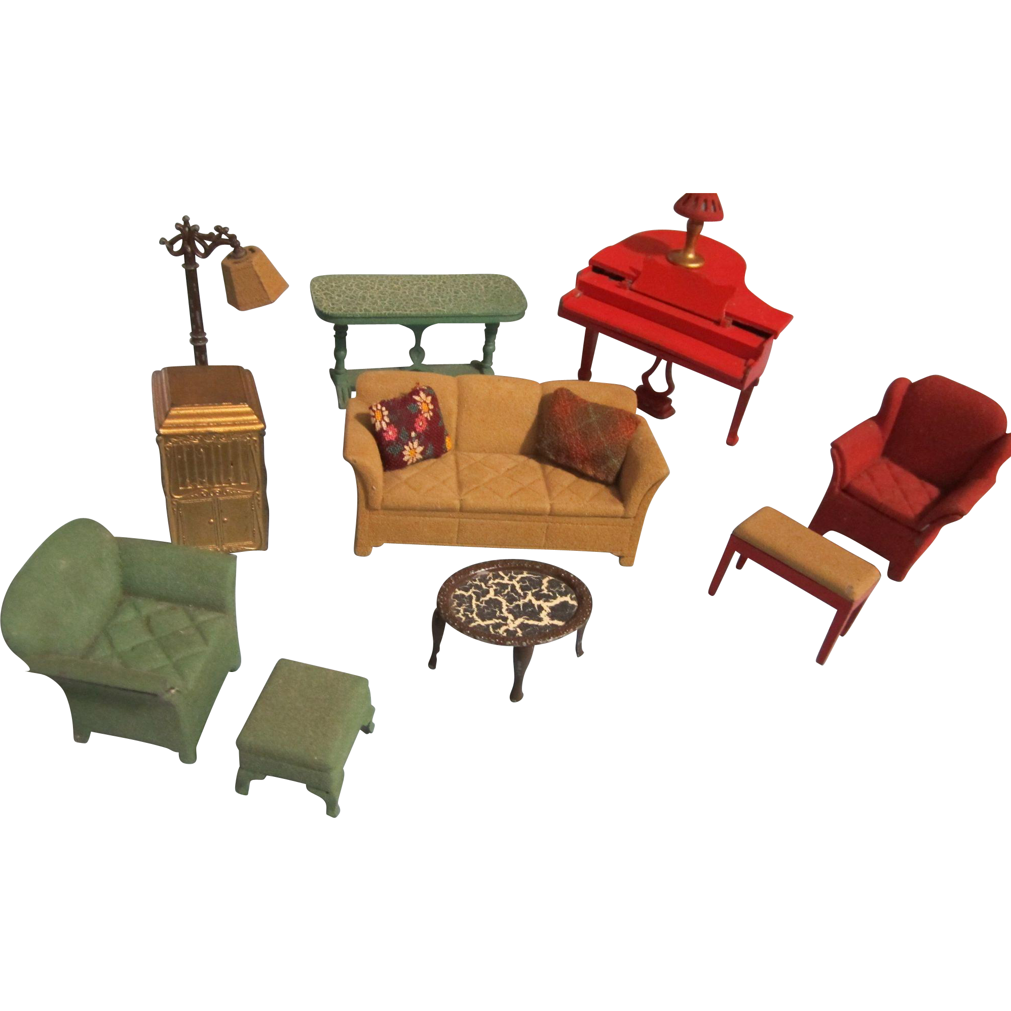 The Inside Track Lancaster Pa: Vintage Miniature Dollhouse Living Room Furniture From