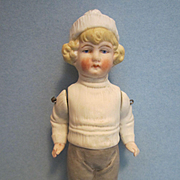"Antique German 6"" All Bisque Doll with Molded Clothes"