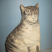 "Arnold Print Works Lithographed Cloth 12"" Brown Tabby Cat"