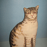 "Arnold Print Works Lithographed Cloth 7"" Brown Tabby Cat"
