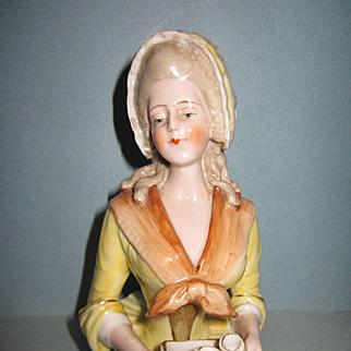 "Rare Antique 5"" China Chocolate Lady Half Doll"
