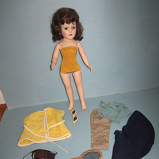 """Vintage 14"""" Hard Plastic Mary Hoyer Doll and Accessories"""