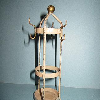 Antique Doll House Miniature German Metal Coat Rack