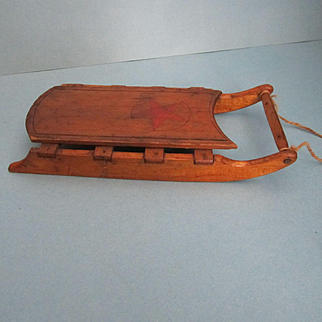 Antique Miniature Wooden Folk Art Sled