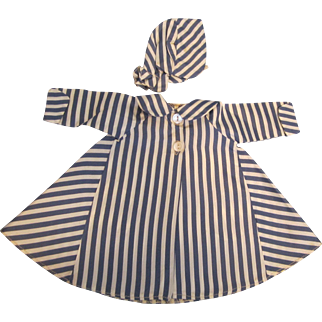 "Vintage Madame Alexander Stripped Tagged Coat for 15"" Doll"