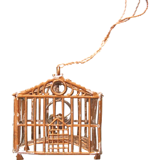 Antique Doll House Birdcage With Bird