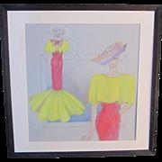 An Vintage Original Pastel Fashion Design Drawing