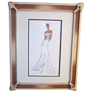 A Vintage Original Watercolor Fashion Design of a Bridal Gown