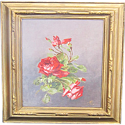 A Vintage American Still Life Oil Painting of Roses