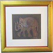 A Mid-Century Modern Abstract Painting of an Elephant