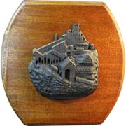 A Vintage Carved Coal Sculpture of a Coal Breaker